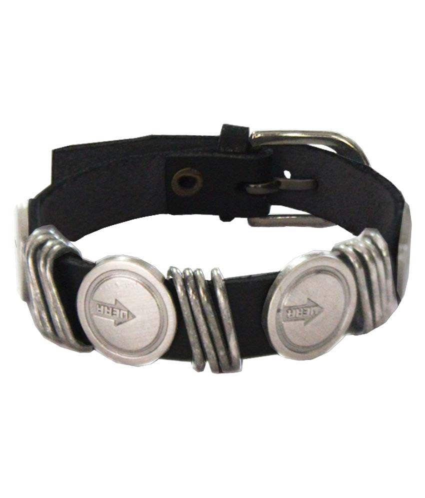 Mens Jewell Black Faux Leather Design Bracelet