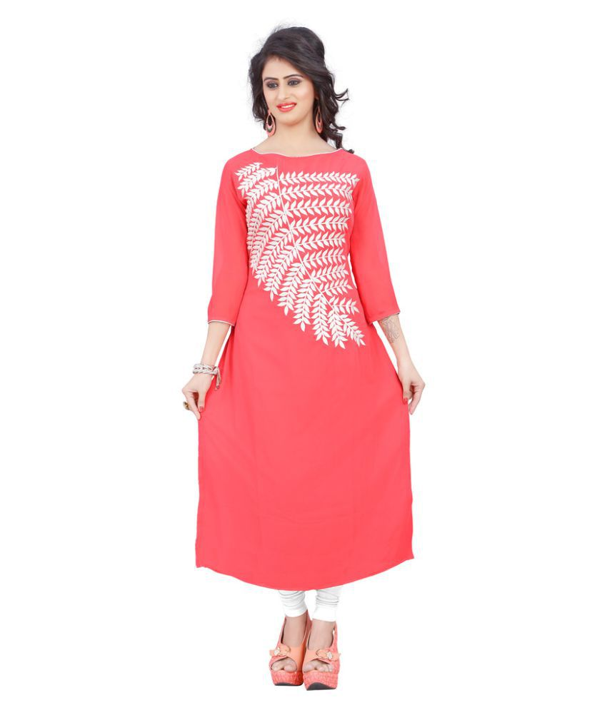 The Ethnic Chic Pink Georgette A-line Kurti