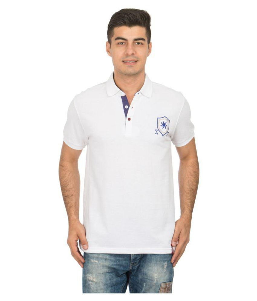 Zeven White Cotton Polo T-Shirt Single Pack