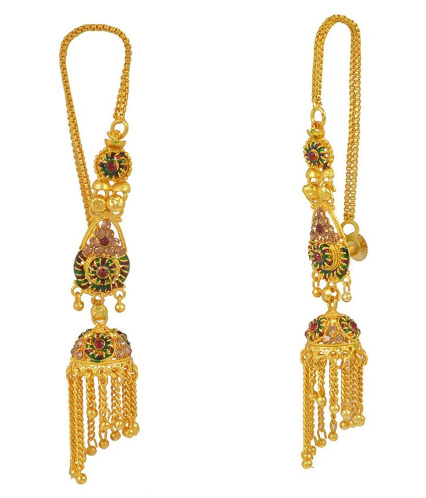 Memoir Gold Plated and Meenakari, Long Earchain Jhalar Jhumki, for Women