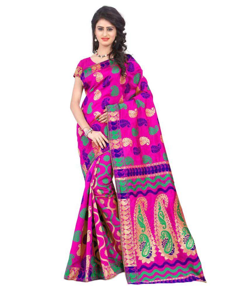 Ank Pink Cotton Silk Saree