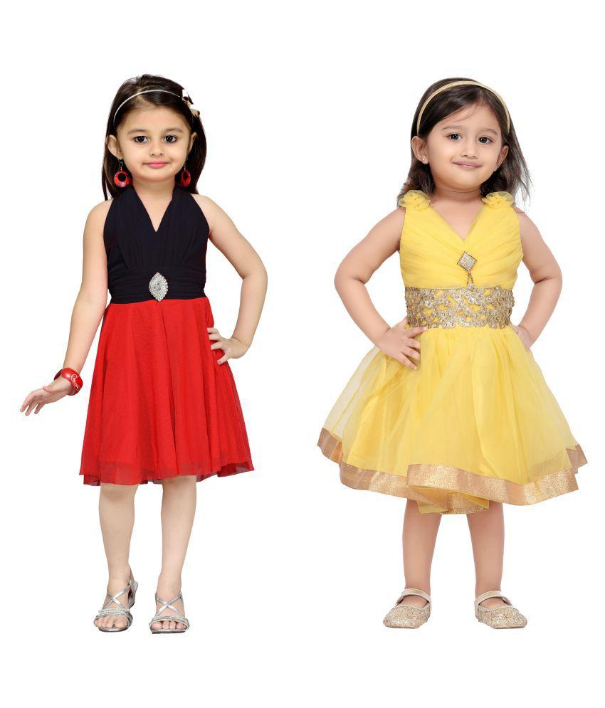 90ab54a1d Aarika Girl s Self Design Premium Net Birthday Special Dress (Pack ...