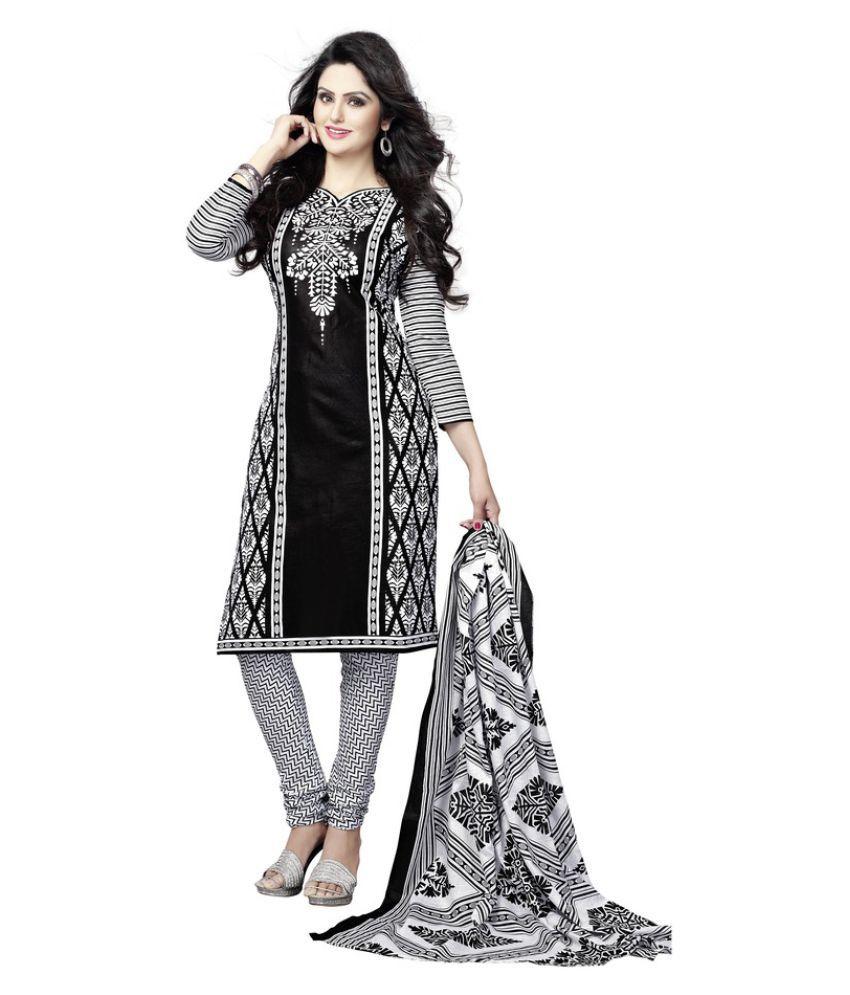 Minu Black Cotton A-line Stitched Suit