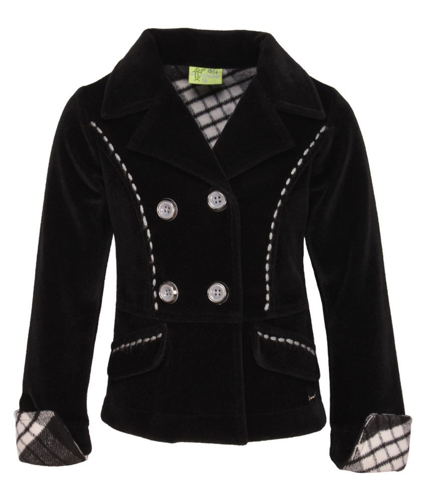 Cutecumber Black Polyester Girl's Black Coat