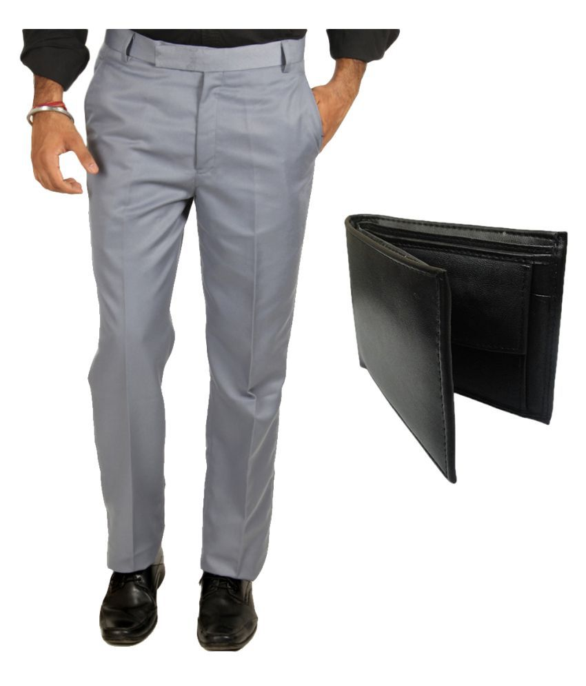 Van Galis Grey Regular Flat Trouser