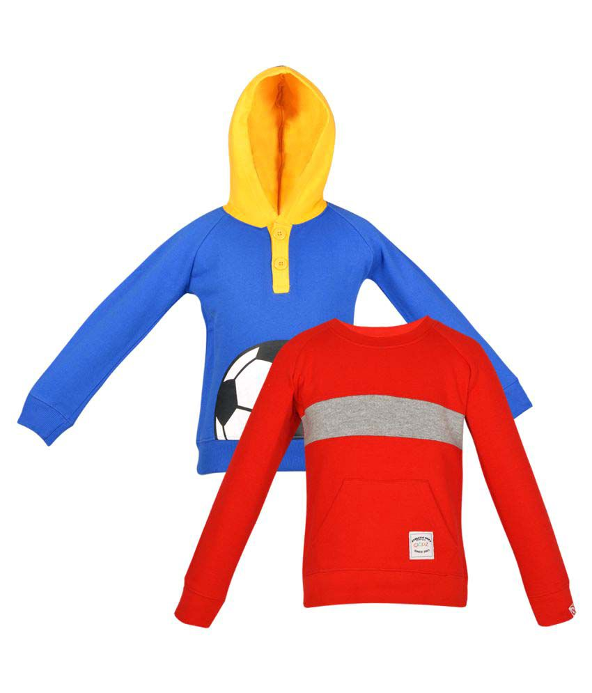 Gkidz Pack Of 2 Girls Multi Color Fleece Sweat Shirt Combo.