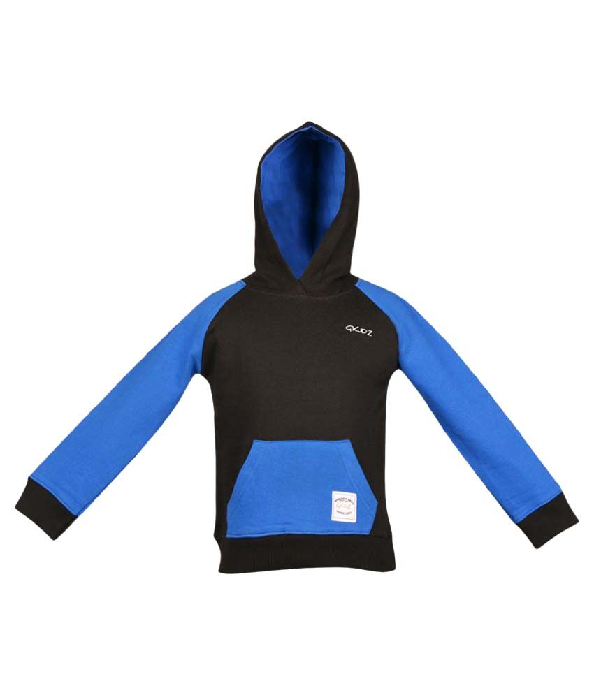 Gkidz Black Boys Full Sleeve Hooded Sweatshirt