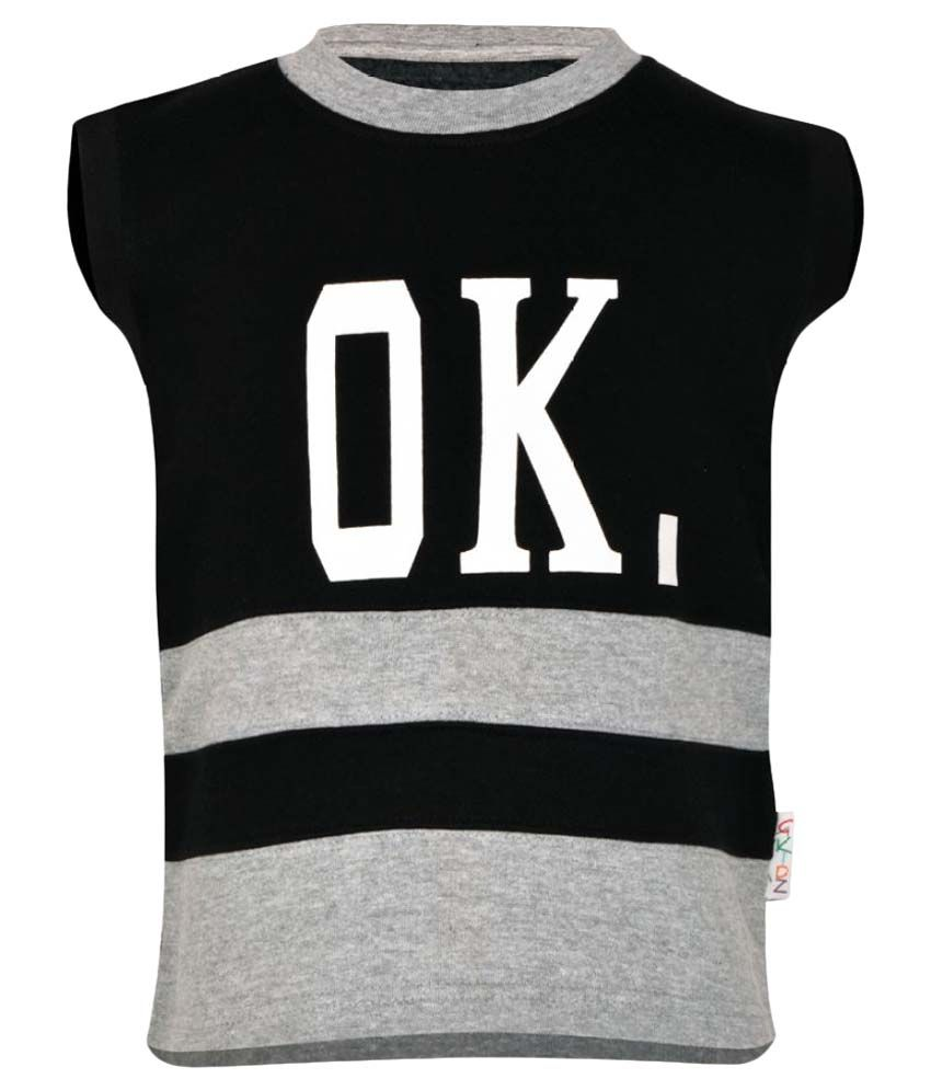 Gkidz Black Boys Sleeveless Sweatshirt
