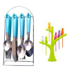 Rocks 24 Pcs Stainless Steel Serving Spoon With Stand - 640246054239