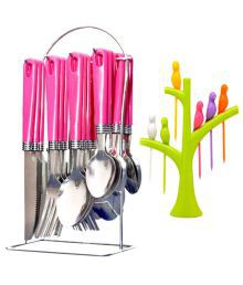 Rocks 24 Pcs Stainless Steel Serving Spoon With Stand - 663871790254