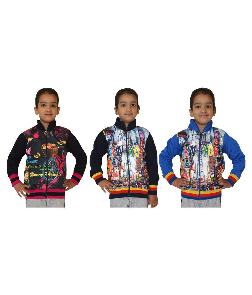 Shaun Multicolour Front Open Girls Sweatshirts - Pack of 3