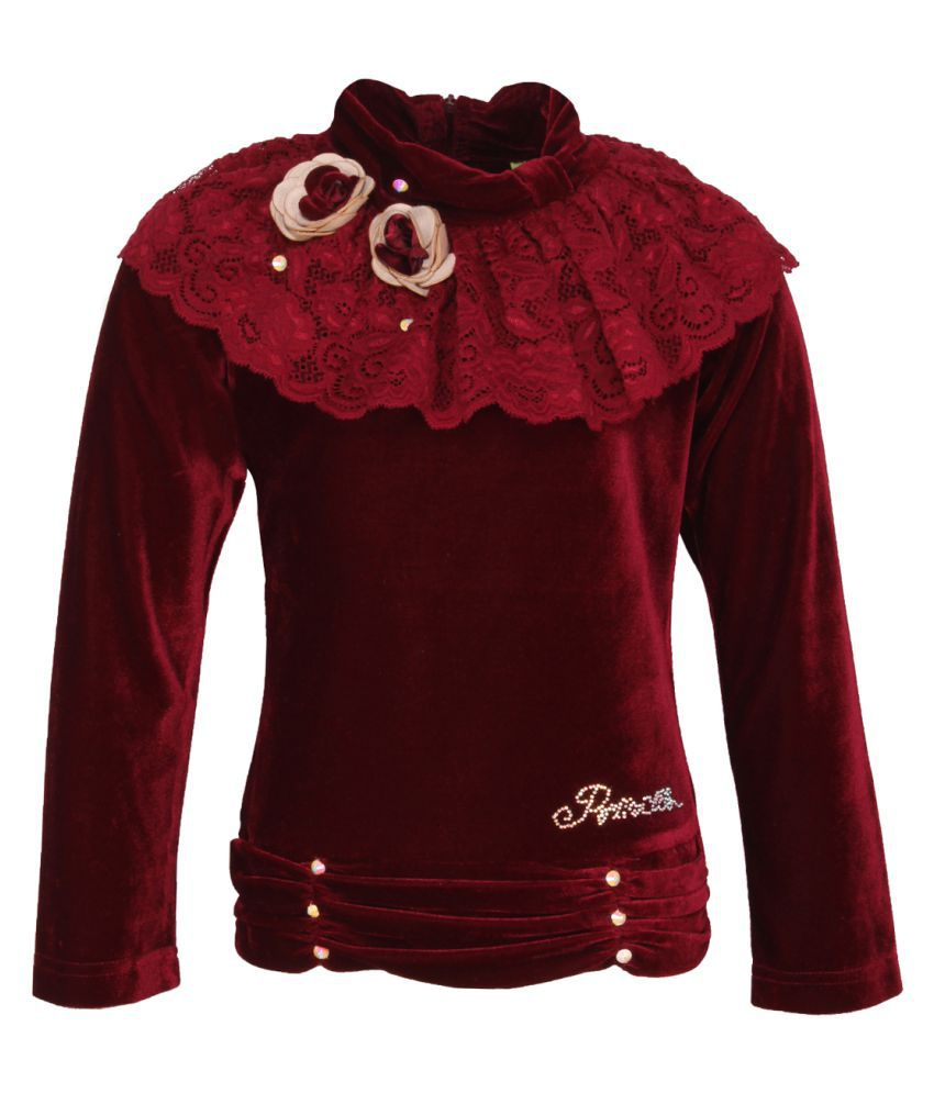 Cutecumber Girl's Maroon Winter Top