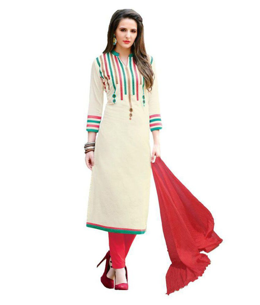 Awesome Fa White Chanderi Dress Material