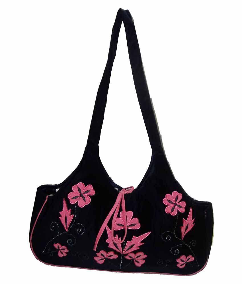 WOAP Black Fabric Shoulder Bag