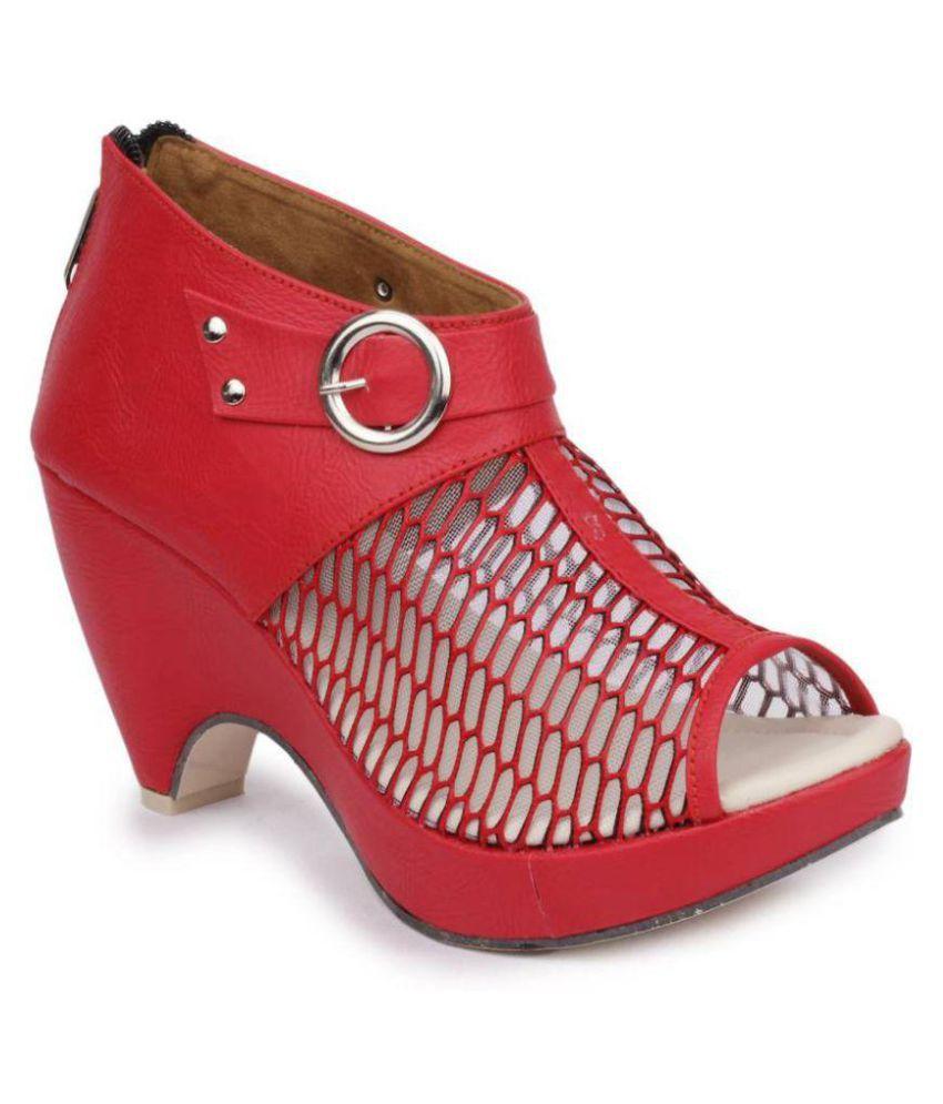5f4abb9b76d Fadrin Red Block Heels Price in India- Buy Fadrin Red Block Heels Online at  Snapdeal