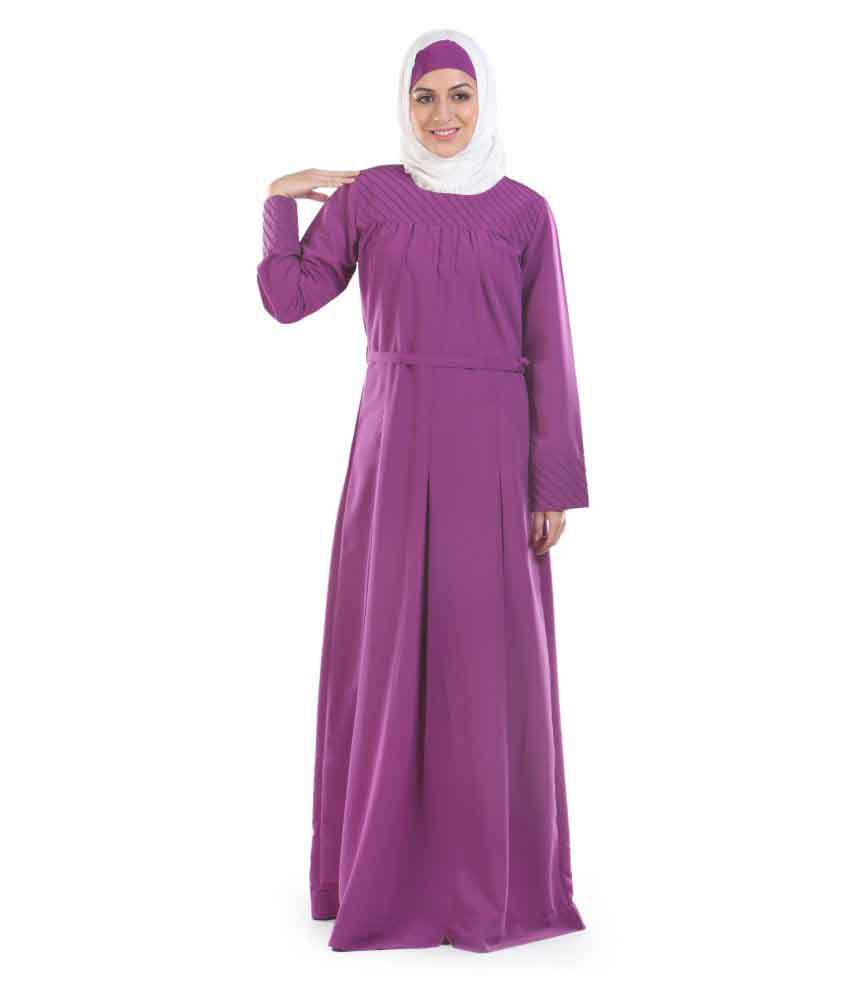 Momin Libas Purple Polyester Stitched Burqas without Hijab