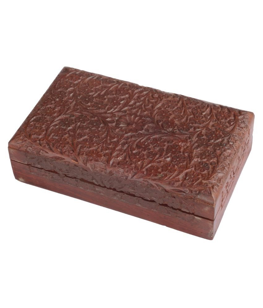 Stonlineshoppe Wooden Jewellery Box with Full Carving