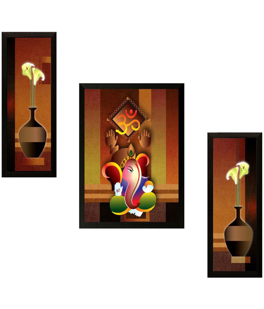 SAF Ganesh Modern art Wood Painting With Frame 3 Combination