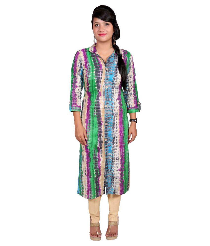 Shubhkaamna Multicoloured Cotton Shirt style Kurti
