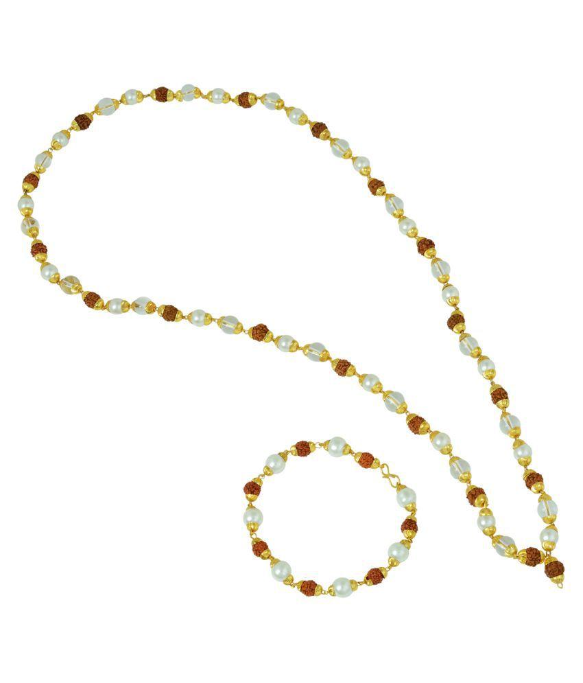 Memoir multi Alloy  Original Panchmukhi Rudraksh, White crystal and Pearl necklace and matching Bracelet