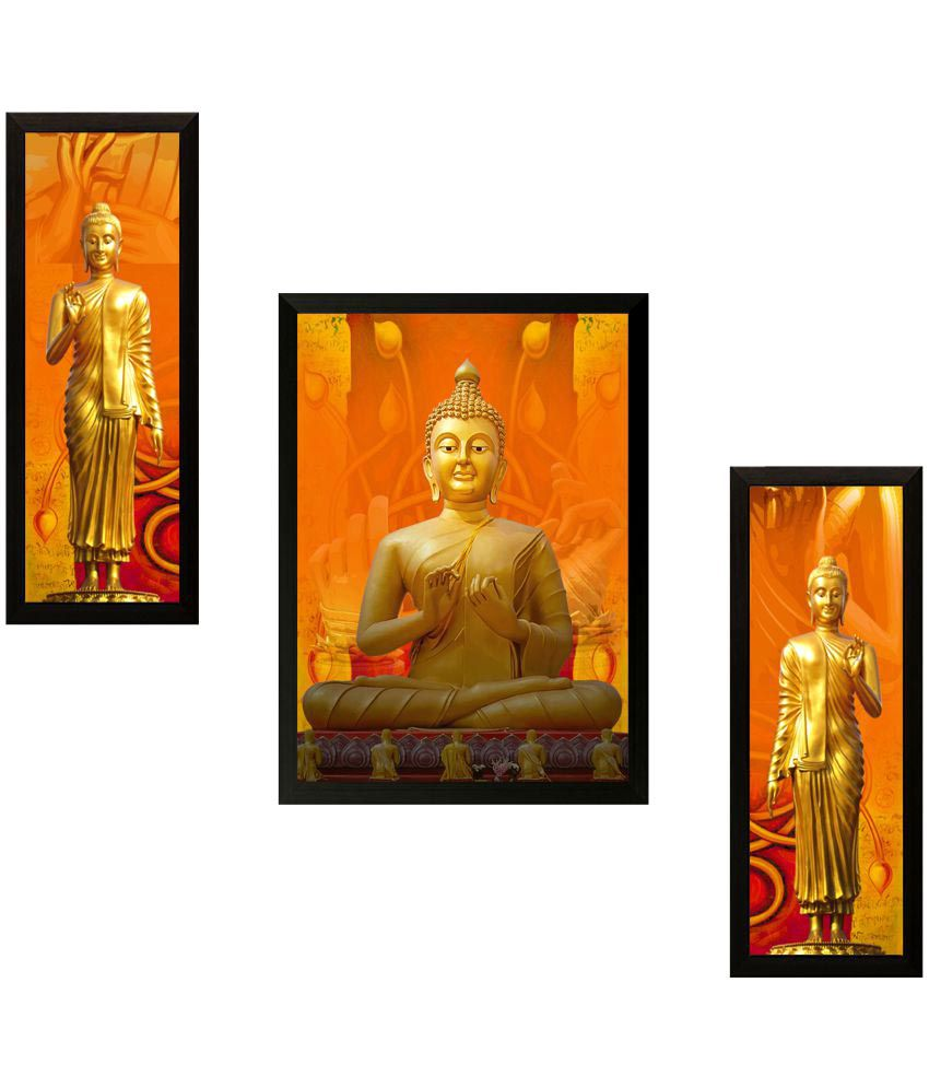 SAF Buddha Wood Painting With Frame 3 Combination
