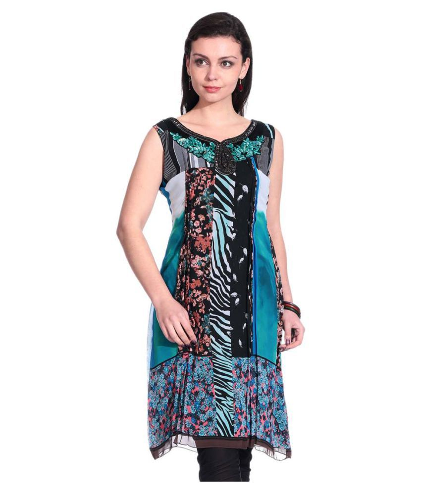 Mini Singh Multicoloured Georgette A-line Kurti