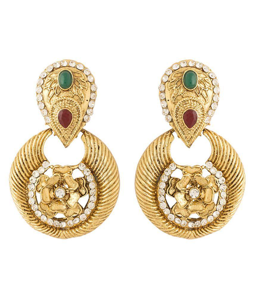 Voylla floral designed golden earrings