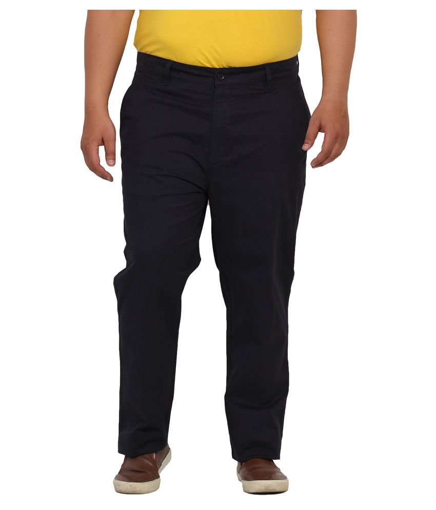 John Pride Black Regular Flat Trouser