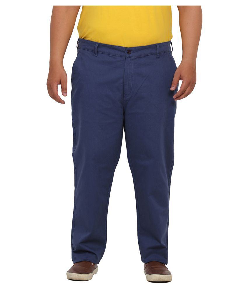 John Pride Blue Regular Flat Trouser