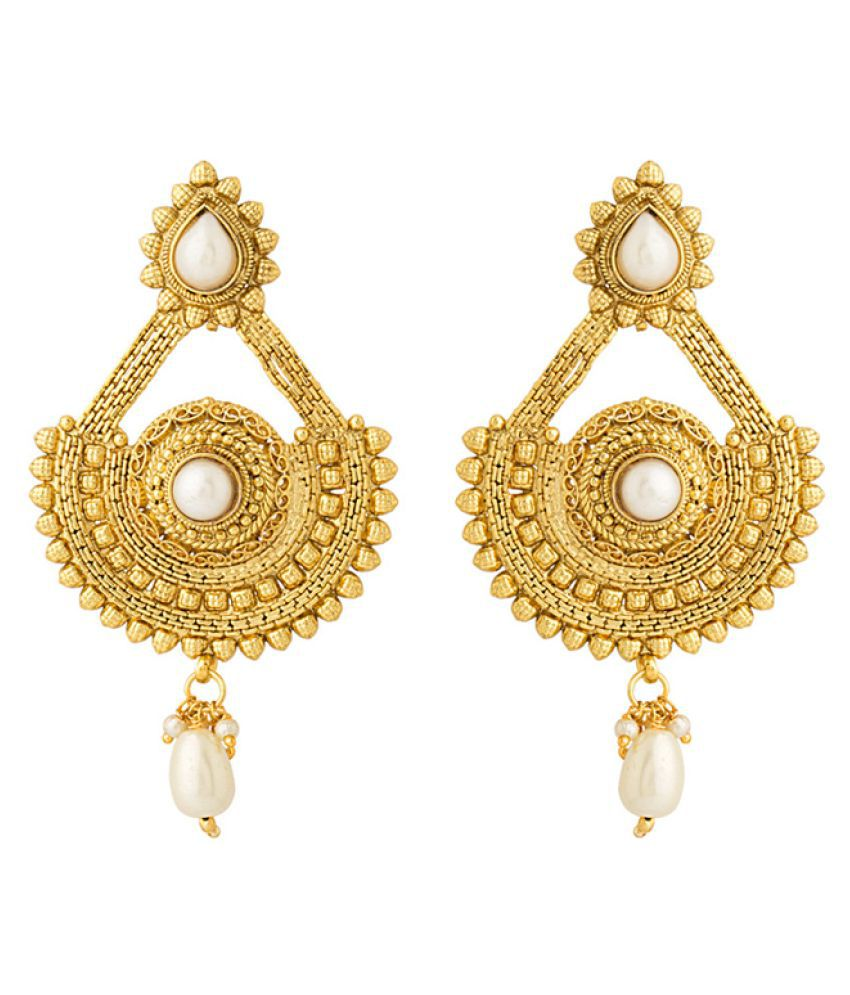 Voylla Pearl Beads Studded Dangler Earrings
