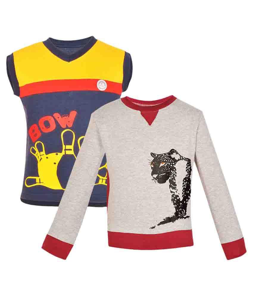 Gkidz Multicolor Grils Sweatshirt - Pack of 2