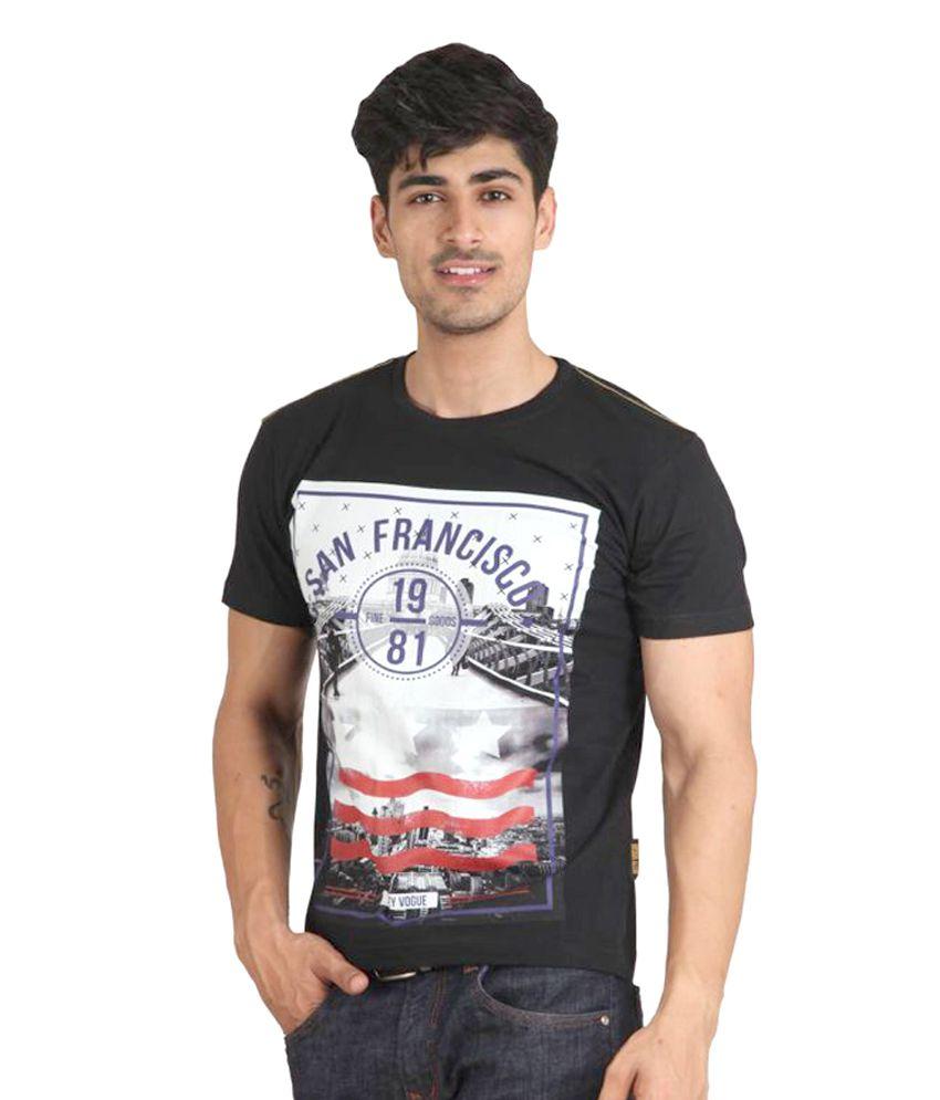 Jazzy Vogue Black Round T-Shirt