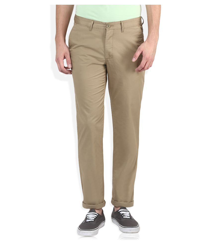 John Players Beige Slim Flat Trouser