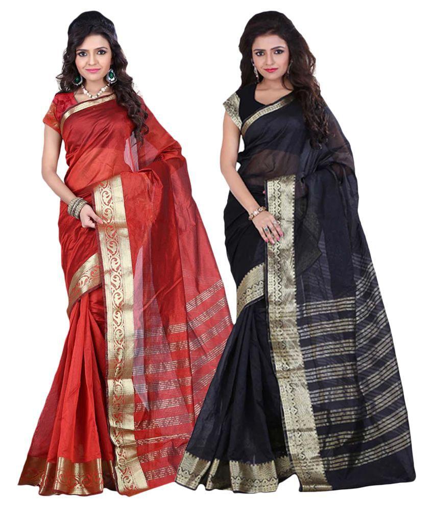 Envogue Multicoloured Art Silk Saree Combos