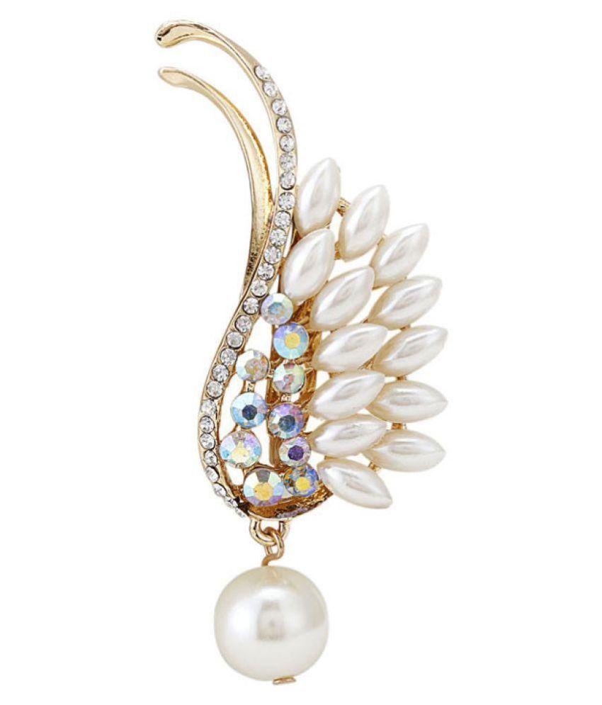 Cilver Fashion Pearl drop Wing design brooch