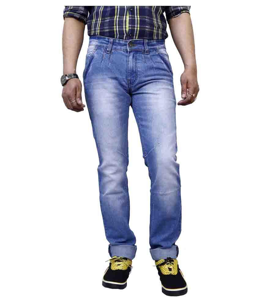11Cent Light Blue Slim Washed Mens Jeans