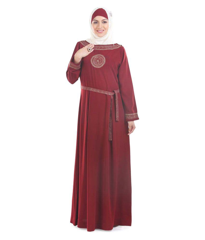 Momin Libas Maroon Polyester Stitched Burqas without Hijab