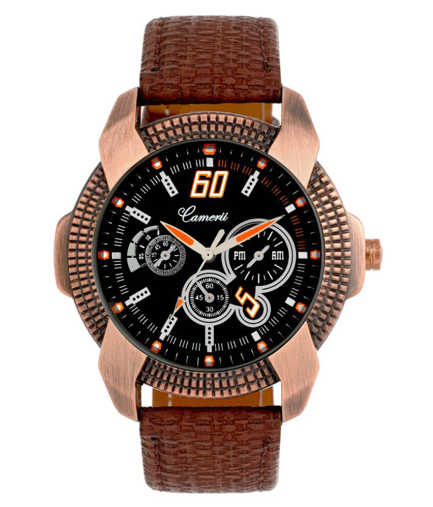 Camerii Brown Analog Leather Watch - For Boys