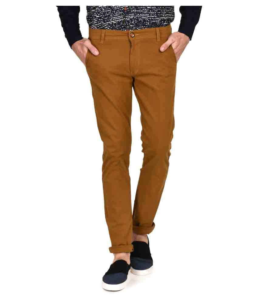 Ruace Dark Brown Slim Flat Trousers