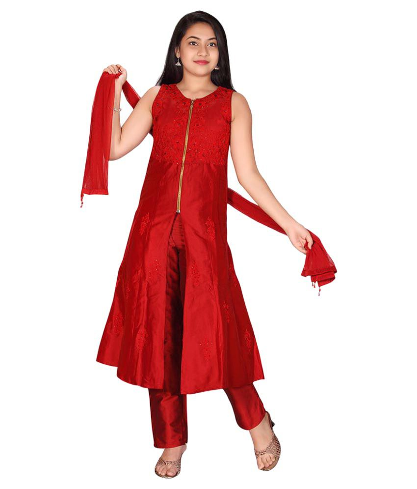 434dfde29 Jazzup Red Silk Embroidered Churidar Suit For Girls - Buy Jazzup Red Silk  Embroidered Churidar Suit For Girls Online at Low Price - Snapdeal