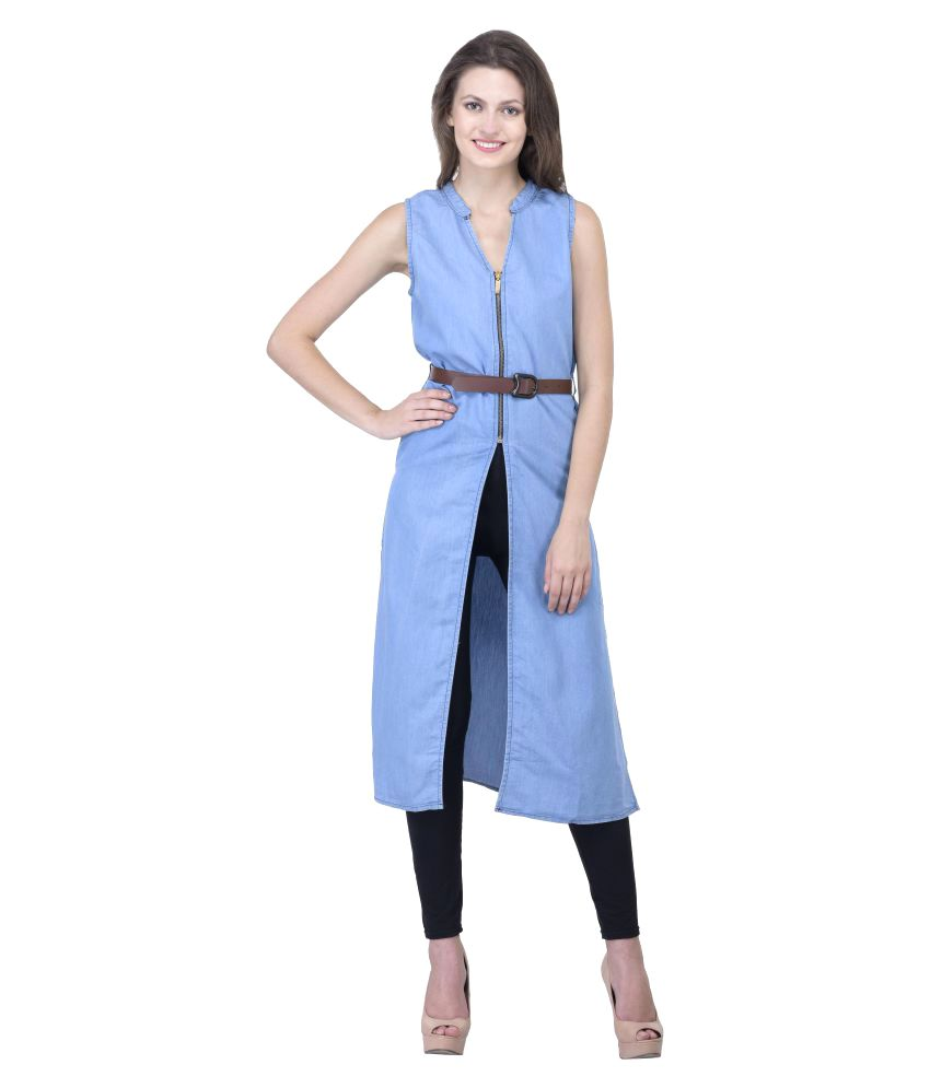 R&K Fashions Blue Denim A-line Kurti