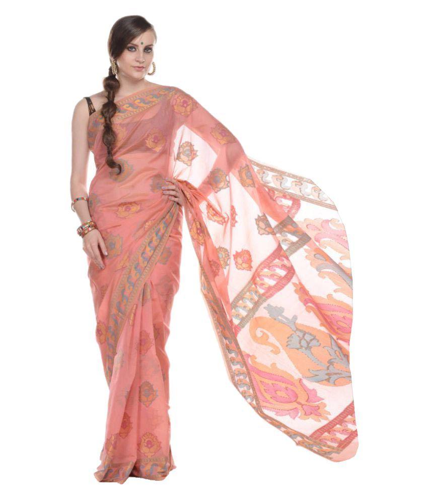10Der Peach Cotton Silk Saree