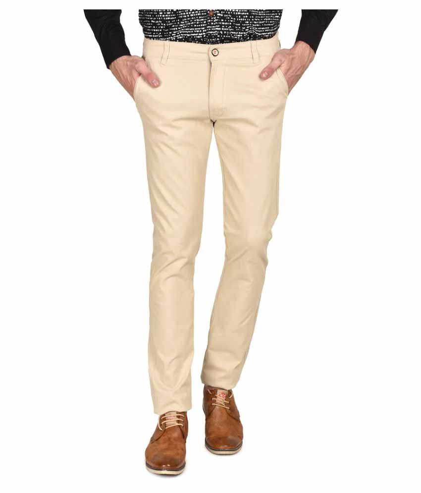 Ruace Beige Cotton Slim Fit Flat Trouser