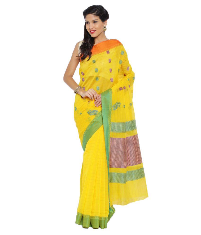 Sudarshan Silks Yellow Cotton Saree