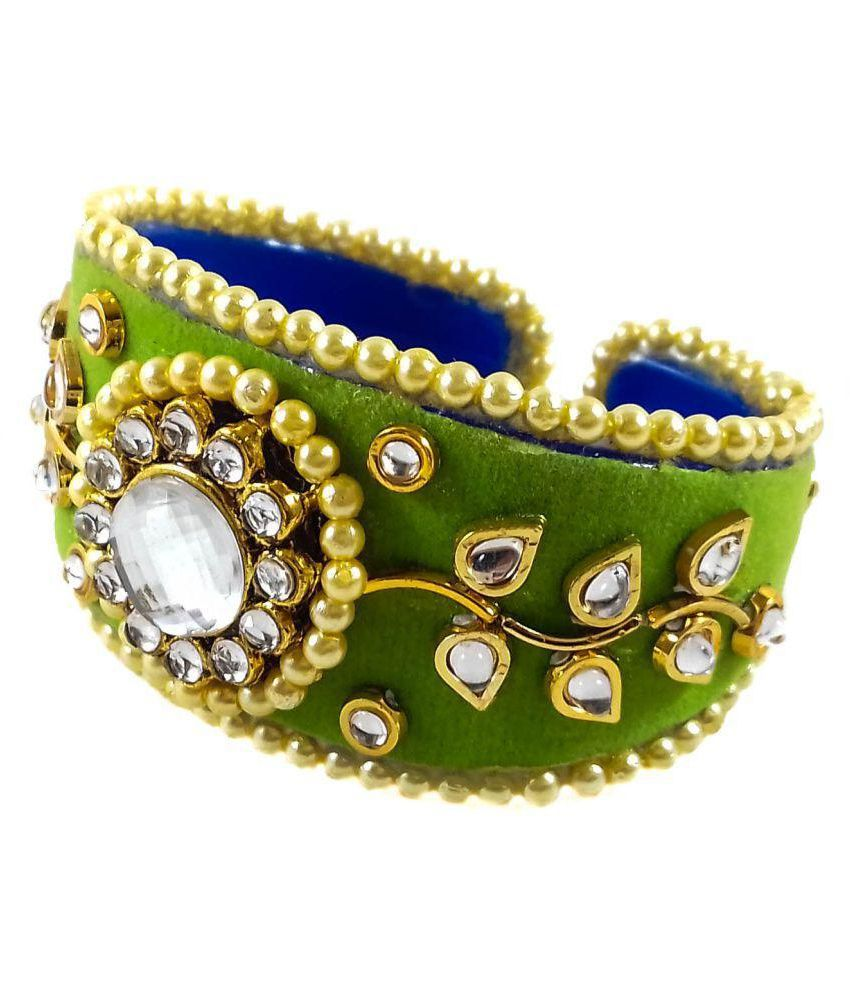 D'clar Kundan Green Fashion Cuff