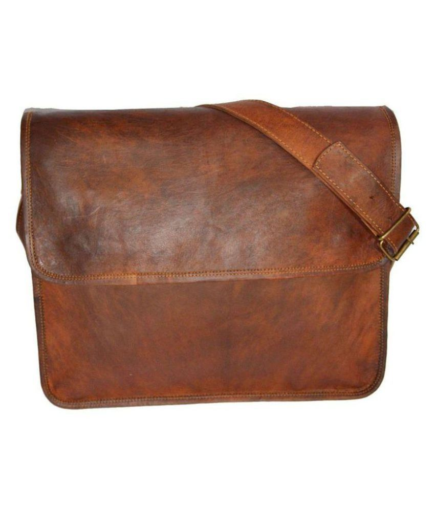 Pranjals House Brown Leather Office Bag