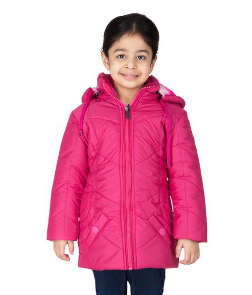 Burdy Pink Full Sleeve Hooded Polyester Bomber Jacket