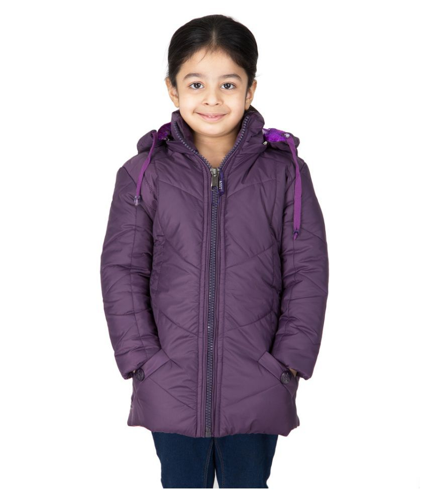 Burdy Full Sleeve Hooded Regular Fit Polyester Solid Bomber Jacket for Girl's (10-11) Years