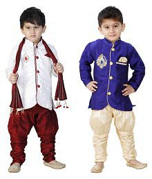 Ftcbazar Multicolour Silk Indo Western Set - Pack of 2