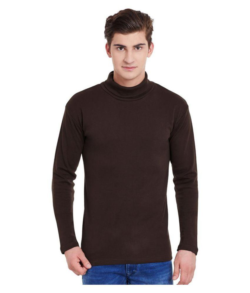 Hypernation Brown High Neck T-Shirt